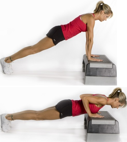 modified push up on step