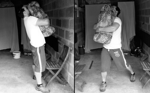 sandbag carry- bear hug